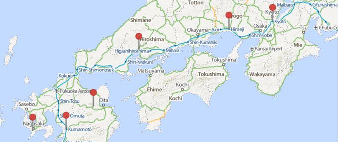 Japan Rail Pass Sample Itnerary Tokyo Kyoto Hiroshima - Japan map kyushu