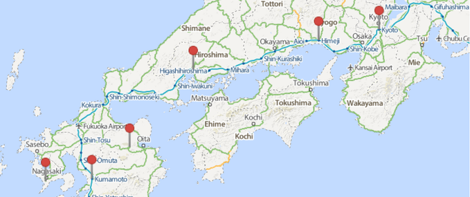 14 sample itnerary: Tokyo, Kyoto, Hiroshima, Kyushu and Osaka.