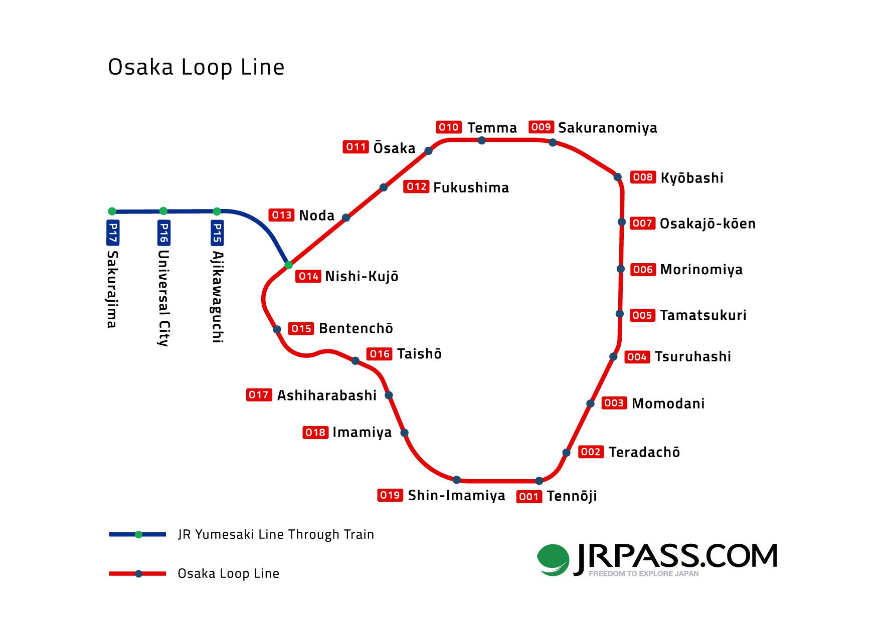 Map of the Osaka railway loop line JRPass